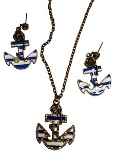 New Anchor Nautical Necklace Earrings Set Pendant Charm Blue White Antiqued Gold J1187