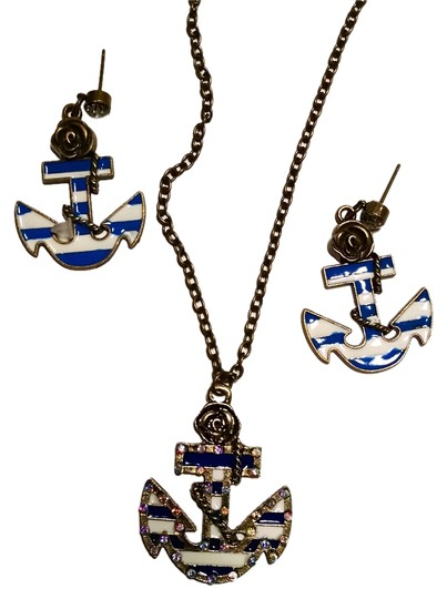 Other Anchor Nautical Necklace Earrings Set Pendant Charm Blue White J1187