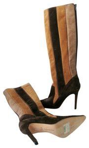 Manolo Blahnik Suede Leather New Multi - Brown Boots