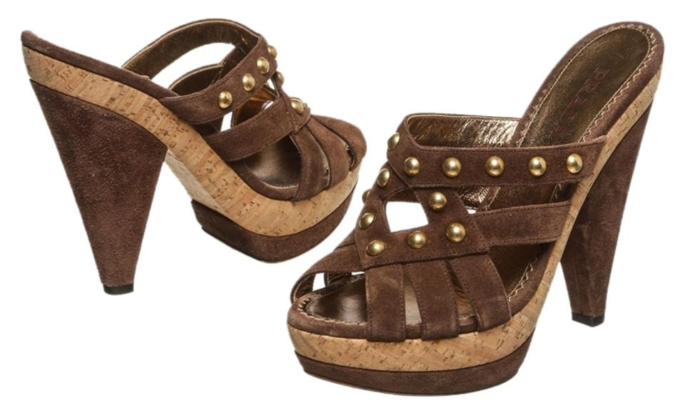 Prada Brown Suede Strappy and Cork Studded Strappy Suede 37.5) Sandals eda9c6