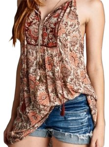 Bohemian Floral Tunic Top Brown