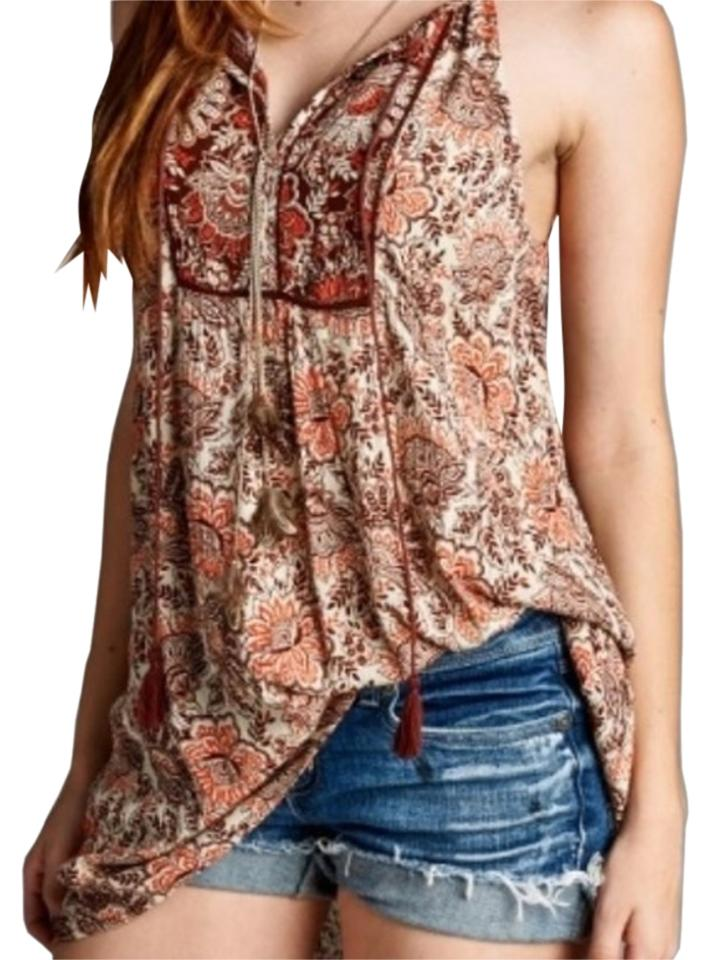 2a7e320f6d8a Brown Staccato Women s Bohemian Floral Tassel Tunic Tank Top Cami ...