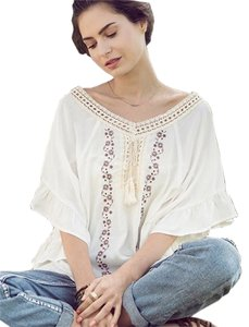 Kori America Bohemian Embroidered Crochet Tunic