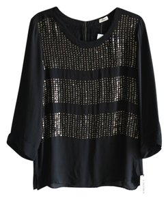 L'AGENCE Silk Sequin New Top Black