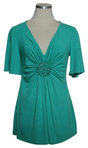 ECI New York Knit Beaded Top Teal Green