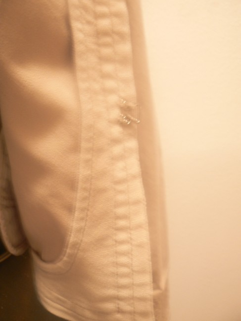 Express Crop Asian Style Collar Double Outer Beige Womens Jean Jacket