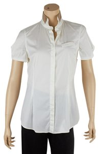 Brunello Cucinelli Stretch Cotton Blouse Button Down Shirt White