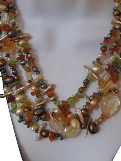 Don Multi colors real natural gemstone roughly cut to size on 4 strings