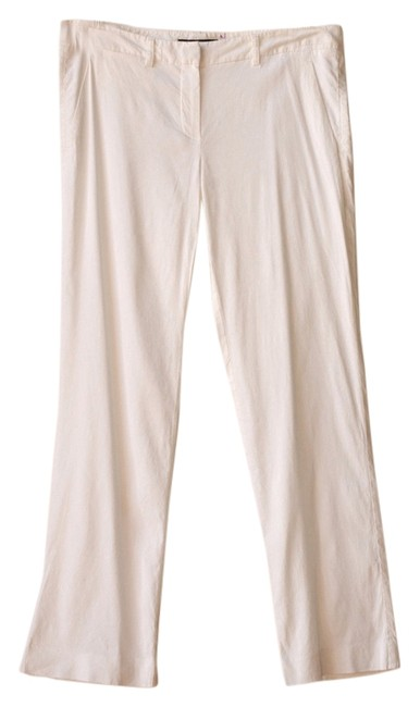 Theory Slim Leg Linen Straight Pants white