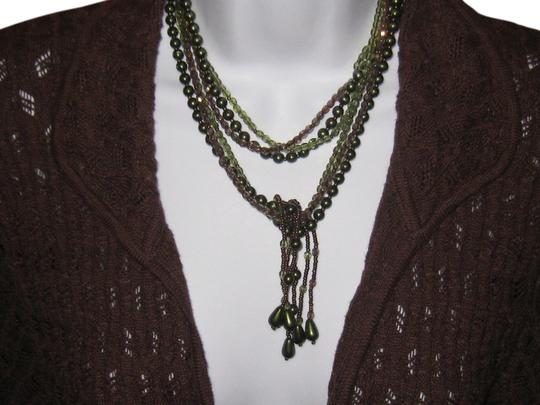 Moods Green and pewter long Necklace