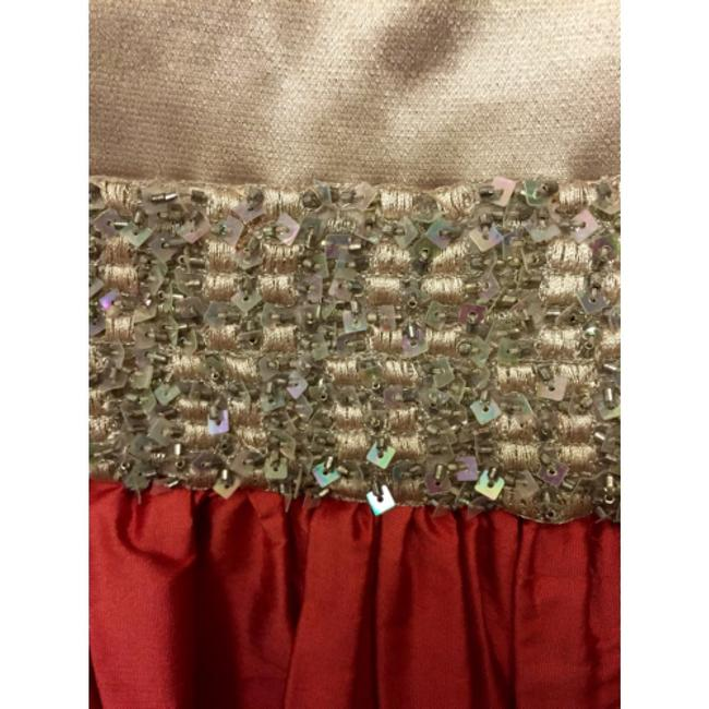 Maria Bianca Nero V-neck Metallic Taffeta Sequin Plunge Party Bright Fall Rayon Lycra Crystal Embroidered Embellished Gold Exclusive Bold Dress