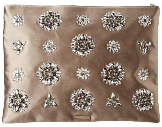 BCBGMAXAZRIA Bling Sparkle Rhinestone Silk Nude Champagne Metallic Foldover Embellished Embroidered Luxury Premium Studded Crystal Mushroom Clutch