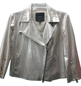 Robert Rodriguez Cropped Leather Zippers Metallic Gold Leather Jacket