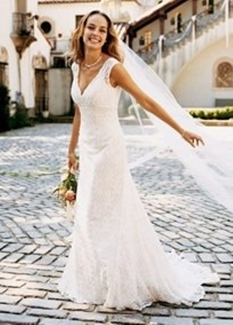 Item - Ivory Lace Allover Beaded Trumpet Gown Style Style T9612 Vintage Wedding Dress Size 8 (M)
