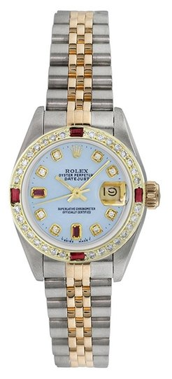 Preload https://item3.tradesy.com/images/rolex-gold-silver-datejust-18k-yellow-and-steel-custom-diamond-and-ruby-ladies-watch-5349397-0-0.jpg?width=440&height=440