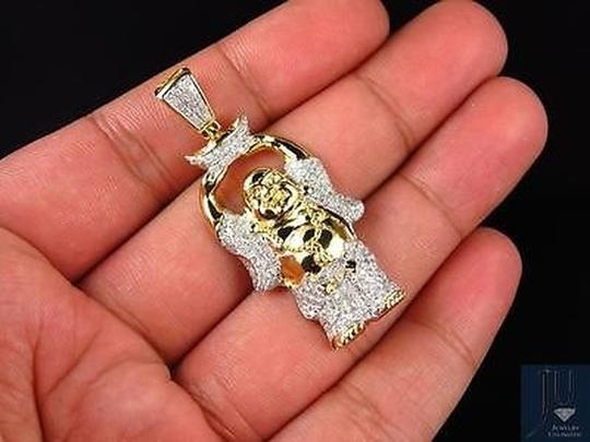 Solid 10k Yellow Gold Genuine Diamond Laughing Prosperity Buddha Charm 1.25ct Necklace