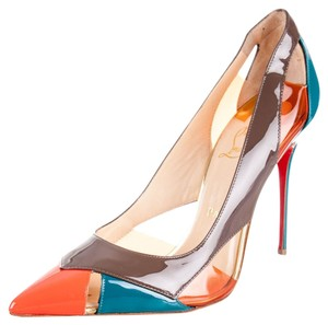 Christian Louboutin Blue Brown Orange Patent Patent Leather Pvc Cut-out Pointed Toe Stiletto Multicolor Pumps