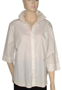 Saks Fifth Avenue Cotton Bouse Button Down Shirt White