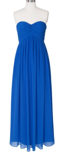 Blue Chiffon Polyester Strapless Sweetheart Long Formal Bridesmaid/Mob Dress Size 2 (XS)