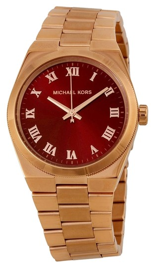 Michael Kors Rose Gold Stainless Steel Casual ladies watch with Red Dial