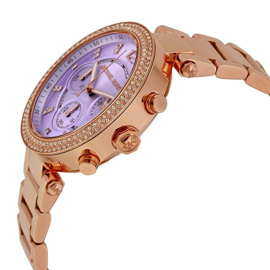 Michael Kors Rose Gold Ladies Watch with Crystal Bezel and Purple Dial