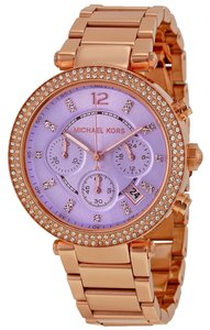 Michael Kors Crystal and Purple Dial Rose Gold Ladies Designer watch