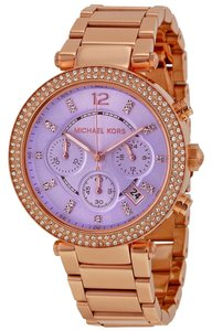 Michael Kors Purple Dial Crystal Bezel Blush Rose Gold Stainless Steel ladies Watch