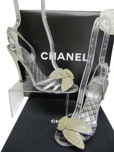 Chanel Cc Logo Silver Sandals