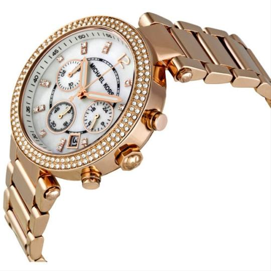 Michael Kors Mother of Pearl and Crystal Dial Rose Gold Ladies Fashion Watch