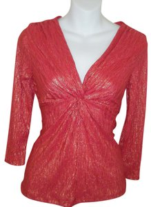 New York & Company Pxs Top RED W GOLD SHIMMER
