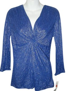 New York & Company M Shimmery Top ROYAL BLUE W SILVER