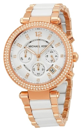 Michael Kors White Acetate Rose Gold with Crystal Pave Bezel Ladies Casual Luxury Watch