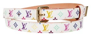 Louis Vuitton White multicolore LV monogram leather Louis Vuitton belt