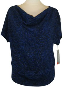 New York & Company Draped Dolman Top ROYAL BLUE W BLUE SHIMMER