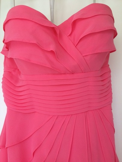 Bill Levkoff Pink Coral Chiffon Strapless Ruffled Cocktail Feminine Dress Size 8 (M)
