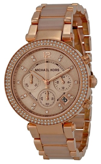 Preload https://item5.tradesy.com/images/michael-kors-rose-gold-and-blush-acetate-crystal-bezel-ladies-luxury-casual-watch-5352724-0-0.jpg?width=440&height=440