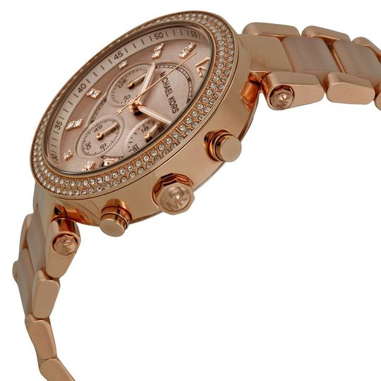 Michael Kors Rose Gold and Blush Acetate Crystal Bezel Ladies Luxury casual Watch