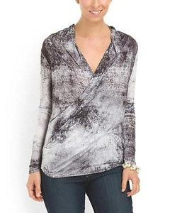 Helmut Lang Contemporary Draped Fitted Modal Wrap Top Gray