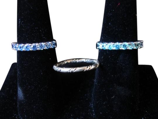 JCPenneys STERLING SILVER LOT/ 3 RINGS BLUE & GREEN ZIRCONIA ETERNITY + TWISTED SIZES 7+-8.5 NWT