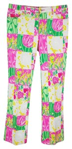 Lilly Pulitzer #embellished #sequin Straight Pants pink patchwork