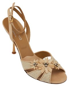 Valentino Heels Floral Leather Tan Formal