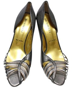 Bruno Magli Leather Metallic Silver Pumps
