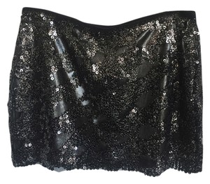 Express Sequin Sparkle Glitz Sexy Mini Skirt Gunmetal