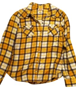 Mossimo Supply Co. Country Plaid Button Down Shirt Yello, blue, white