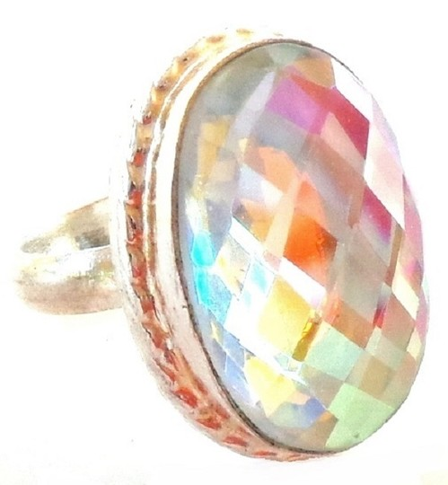 Other Large Mystic Topaz 925 Sterling Silver Ring 8.5