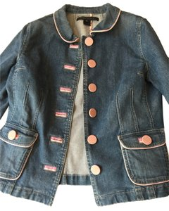 Marc Jacobs Marc Denim Jean Detailing Pink Hearts Fitted Stylish Like New Womens Jean Jacket