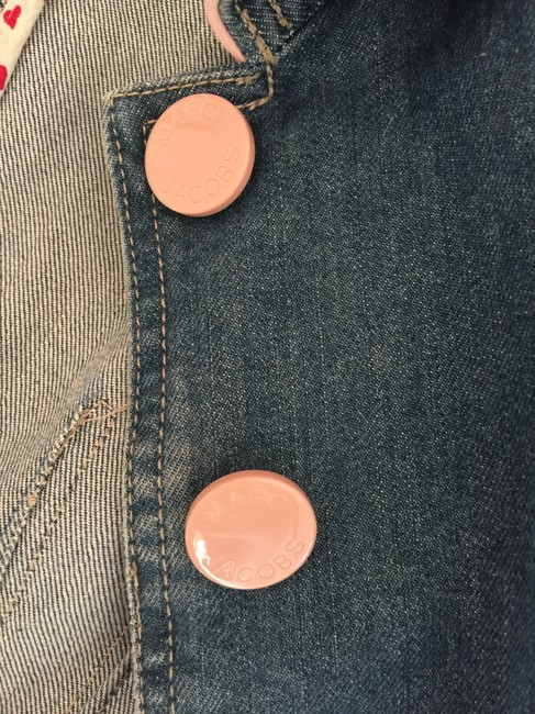 Marc Jacobs Jean Detailing Pink Hearts Fitted Stylish Like New Womens Jean Jacket