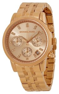 Michael Kors Rose Gld Crystal Dial Ladies Stainless Steel Designer Watch