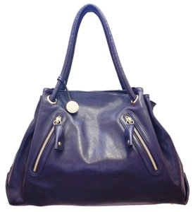 Furla Leather Zip Detail Ruched Gold Hardware Tote Handbag Shoulder Bag
