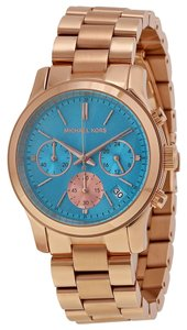 Michael Kors Blue Dial Rose Gold Stainless Steel Designer Dress Ladies Watch